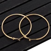 Boucles d'oreilles en forme de grand cercle lisse, créoles simples, bijoux ronds pour femmes, diamètre de 40, 60, 70 et 80 mm, accessoires pour les fêtes
