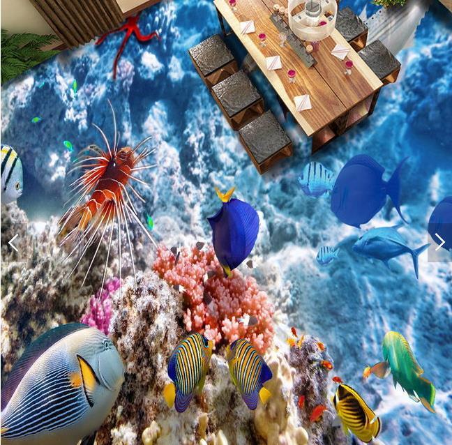 ФОТО 3d floor custom murals wallpaper Coral fish 3d floor tiles Waterproof wallpaper for walls 3d for photo wallpaper