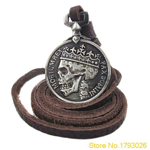 Mens Charms Silver Skull Pendant Genuine Leather Fashion Vintage Necklace for Cloth Accessory 4TCM