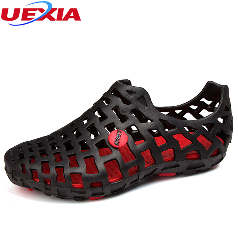 UEXIA Summer Men Fashion Flats Hollow Out Hole Beach Breathable Sandals light Casual Beach Shoes Soft EVA Injection Comfortable