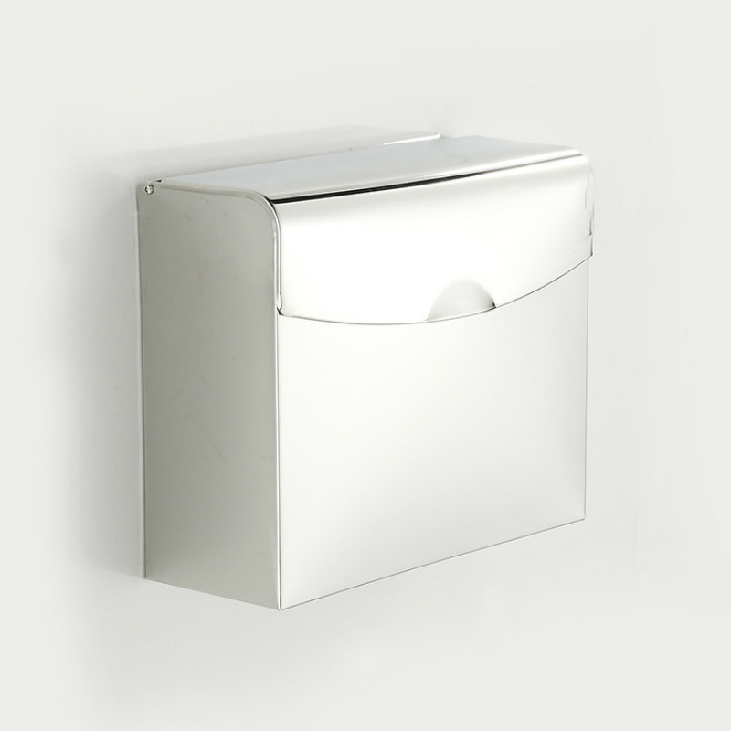 201 Stainless steel  Postbox Type Toilet Paper Holder Case With Cover Roll Dispenser Bathroom Waterproof Tissue Box Roll 24CM stainless steel wall mounted waterproof toilet roll paper holder of high capacity for toilet hotel and bathroom