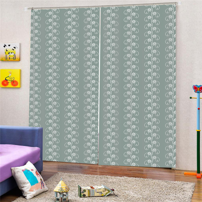 3D Digital Print Green Blackout Curtain For Living Room Home Decor Thick Faux Curtains For Bedroom Ready Made Custom AP12