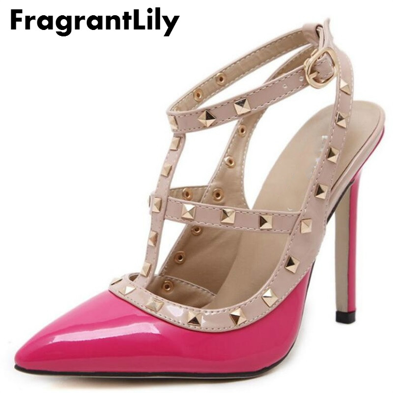 FragrantLily Ladies Sexy Pointed Toe High Heels Fashion Buckle Studded Stiletto High Heel Sandals Shoes Large Size Women Pumps new arrival 2017 summer pointed toe shoes high heels ankle buckle stiletto sandals elegant simplicity dress heel shoes pumps