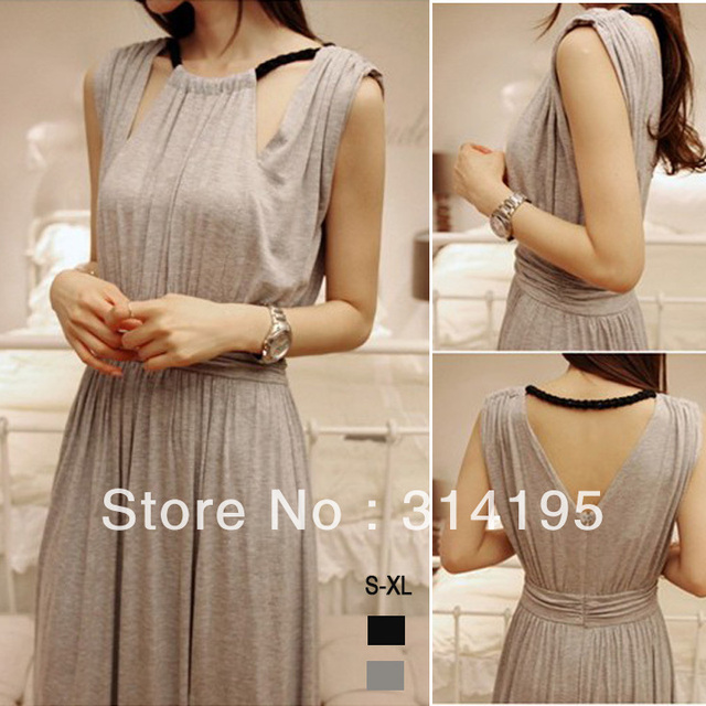 Free Shipping 2013 New fashion Black and Gray High Quality Cotton Hollow Out O-Neck  Lady Long Dress Plus Size S,M,L,XL xchr9098