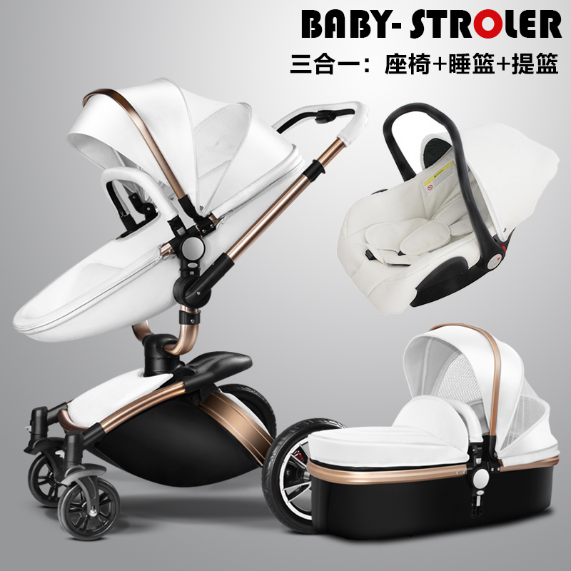 Free !2017 upgrade Aulon recounts 3 in 1  baby stroller leather two-way shock absorbers baby car cart trolley Europe baby pram 2015 baby stroller 3 in 1 600d oxford cloth pram for kids 0 3 years old baby shock absorbers pushchair with carry cot bassinet