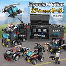 750PCS 418PCS City Police Series SWAT 8 IN 3 City Police Building Blocks Compatible LegoINGLY Bricks Toys Car For Boy