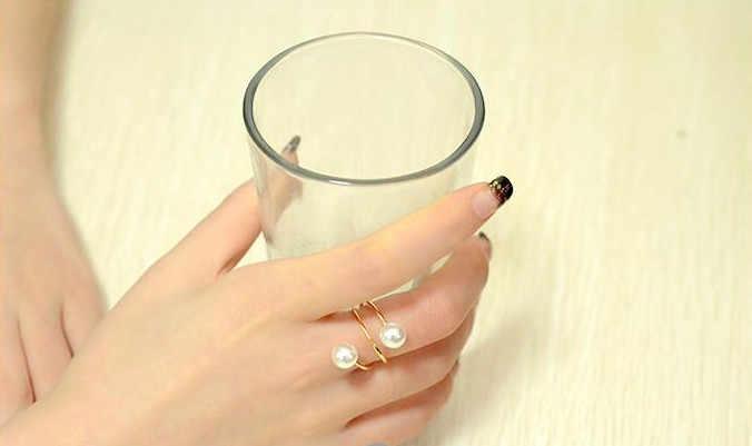2019 nouvelle couleur or grand anneau mode élégant simulé perle ouverture anneaux femmes bijoux cadeau en gros