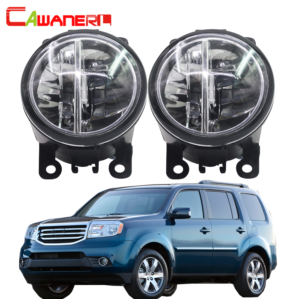 Cawanerl For Honda Pilot 3.5L V6 2012-2015 Car Styling LED Bulb 4000LM Fog Light DRL Daytime Running Lamp 6000K White 2 Pieces cawanerl for toyota highlander 2008 2012 car styling left right fog light led drl daytime running lamp white 12v 2 pieces