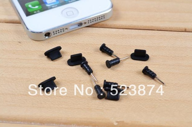 Free Shipping High quality 100set /lot Dust Plug Docking Port stopper For iphone 5 5g Black+White