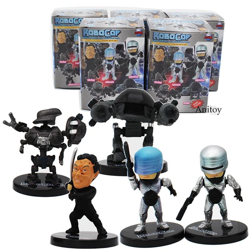 Movie RoboCop Q Version Dolls 5pcs/set ED-209 PVC Action Figures Collectible Model Toys RoboCop 6.5cm KT4225