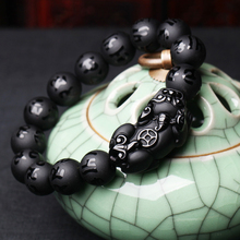 Black Natural Obsidian Stone Bracelets for Men