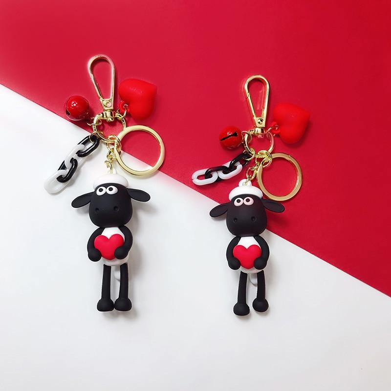 New PVC Cute Sheep Keychain Lambs Love Keychain Ring For Women Bag Charms Keyring Car DIY Trinket Gift 2019 Fashion Gold Buckle