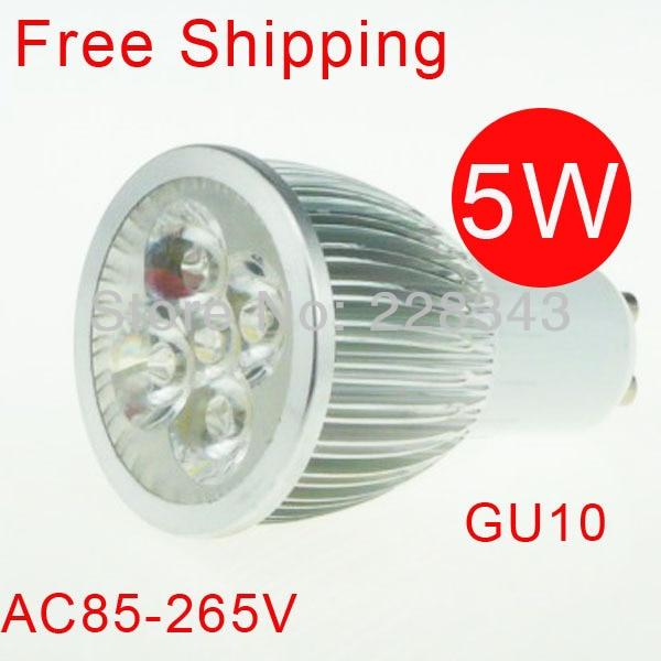 Gratis frakt 6PCS 5W GU10 AC 85V-265V 110V 220V Vit Varm Vit LED - LED-belysning