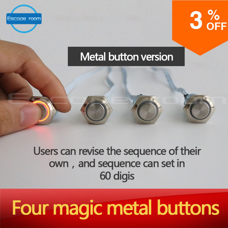 Props for Takagism game real life escape room prop four color buttons for escape secret chamber room four magic metal buttons