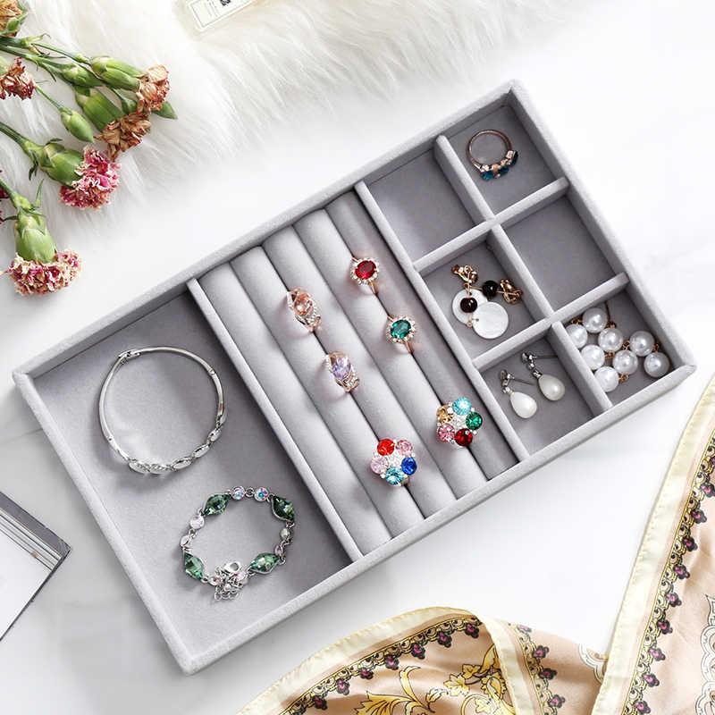 אפור קטיפה טבעת צמיד שרשרת שעון תליון wek-jin Stud עגיל יד שרשרת תכשיטי מגש צלחת Showcase תצוגת A232