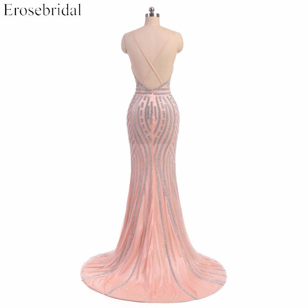 Sexy vestido de noche que rebordea espalda cruzada correa de ...