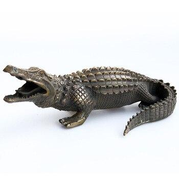Metallic copper animal crocodileCopper metal crafts  home desktop decor decoration ornaments(A841)