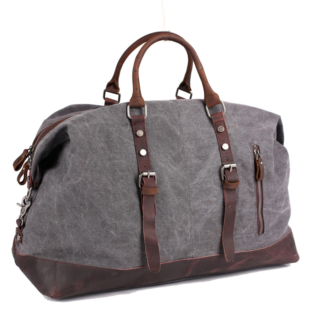 Vintage Multifunctional Large Capacity Carry On Canvas Luggage Bag for Men Duffel Bags Weekend Overnight Military Travel Totes