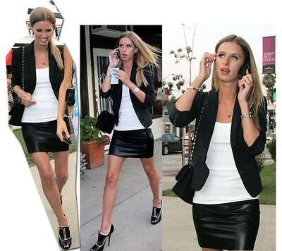 Women Sexy Black Pu Leather Pencil Bodycon High Waist Causal Pencil Mini Skirt #6