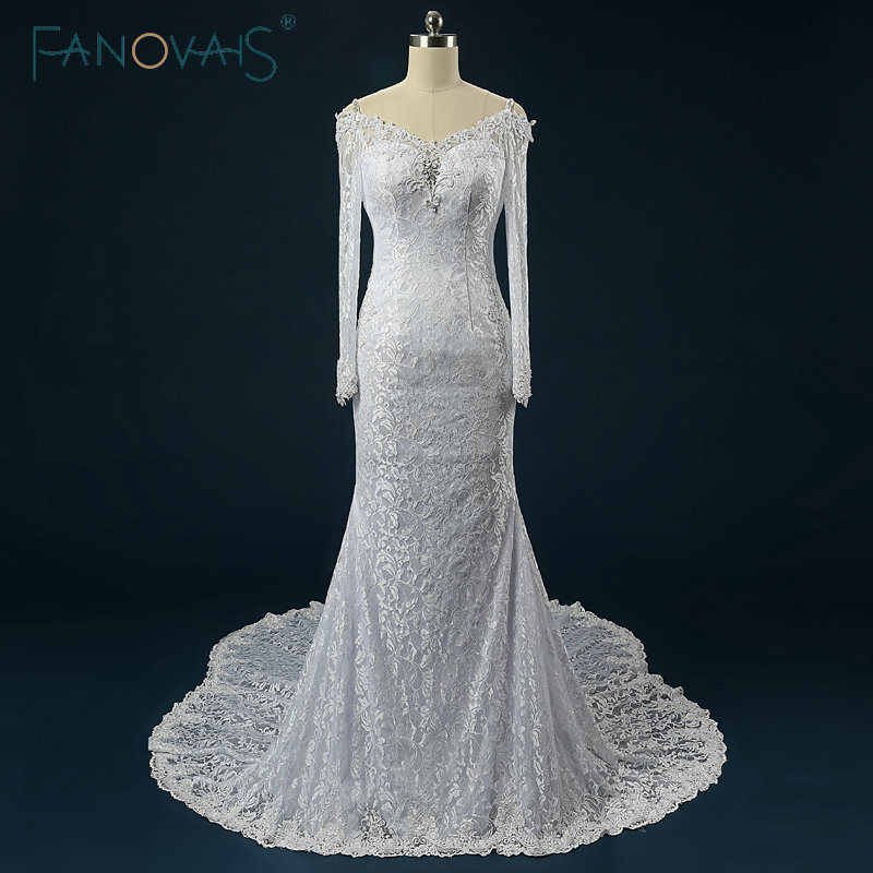 b687799aa ⑤Vintage vestido de boda sirena de encaje de manga larga de cuentas ...