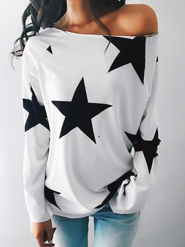Womens Long Sleeve Star Print Off Shoulder Slash Neck Loose Casual Summer Tops T-Shirt