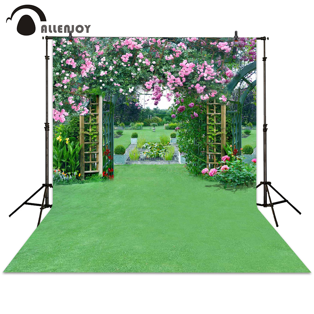 Allenjoy photography backdrop wedding garden flower door grass grassland backgrounds photocall photographic photo studio 300 600cm 10ft 20ft backgrounds backdrop wedding photography backdrops grass covered door photography backdrops