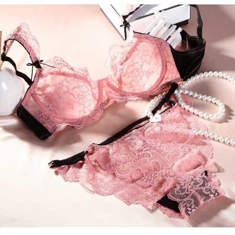 Hot Sale Sexy Women   Bra     Set   32 -42 B C Plus Size Sexy Ultra-Thin Lace Underwear 2019 Sexy Small Girl   Bra   And Knickers   Set