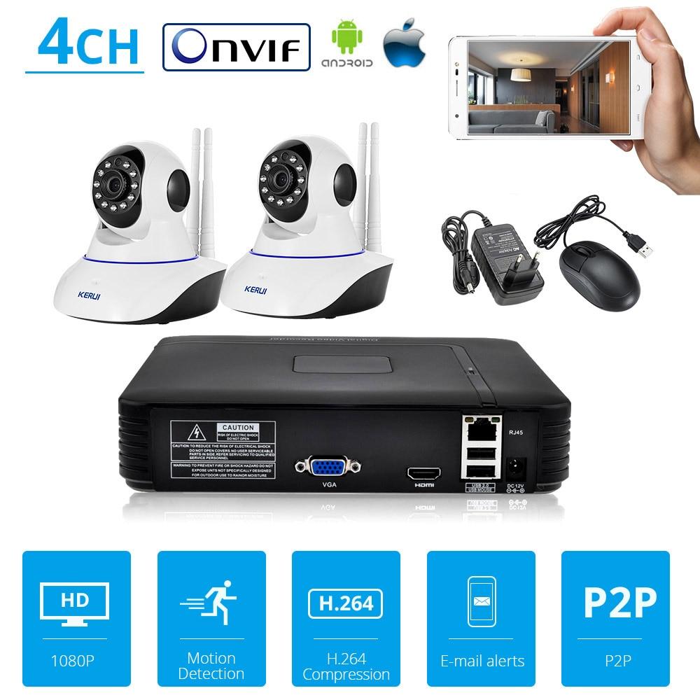 KERUI 4CH Video Recorder 2 pz 720 p Full HD WiFi IP camera NVR di Sorveglianza a CIRCUITO CHIUSO del Sistema di Protezione di Sicurezza Onvif h.264 NVR Kit