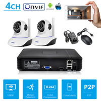 4CH Video Recorder 2 Pcs 720P Full HD WiFi IP Camera NVR Surveillance System CCTV Security