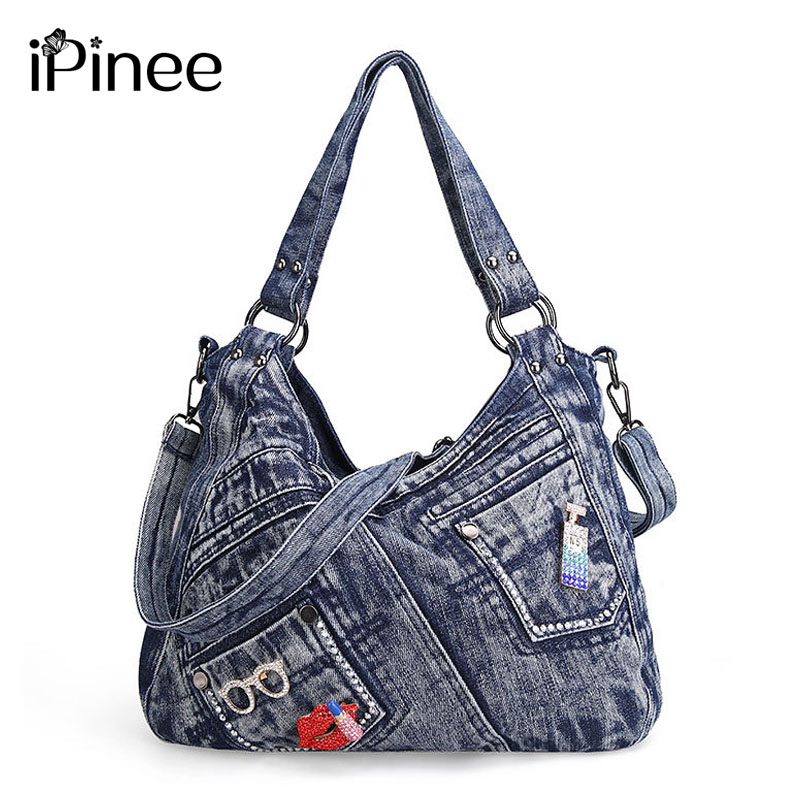 iPinee Women Handbag Fashion Joker Denim Shoulder Bag Lady Vintage Casual Jeans Tote Leisure Rhinestone Messenger
