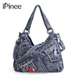 Ipinee bolsa feminina moda coringa denim bolsa de ombro senhora vintage casual jeans tote lazer strass mensageiro sacos