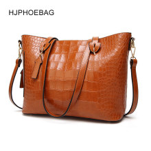 HJPHOEBAG Bag Brand Women Handbags Crocodile Leather Fashion Shopper Tote Bag Female Luxury Shoulder Bags Handbag Bolsa YC030(China)