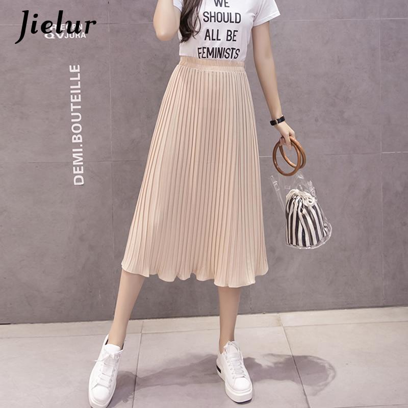 Image 3 - Jielur 6 Colors Korean Fashion Summer Skirt Female Chiffon High Waist Pleated Skirts Womens S XL Harajuku Faldas Mujer Dropship-in Skirts from Women's Clothing