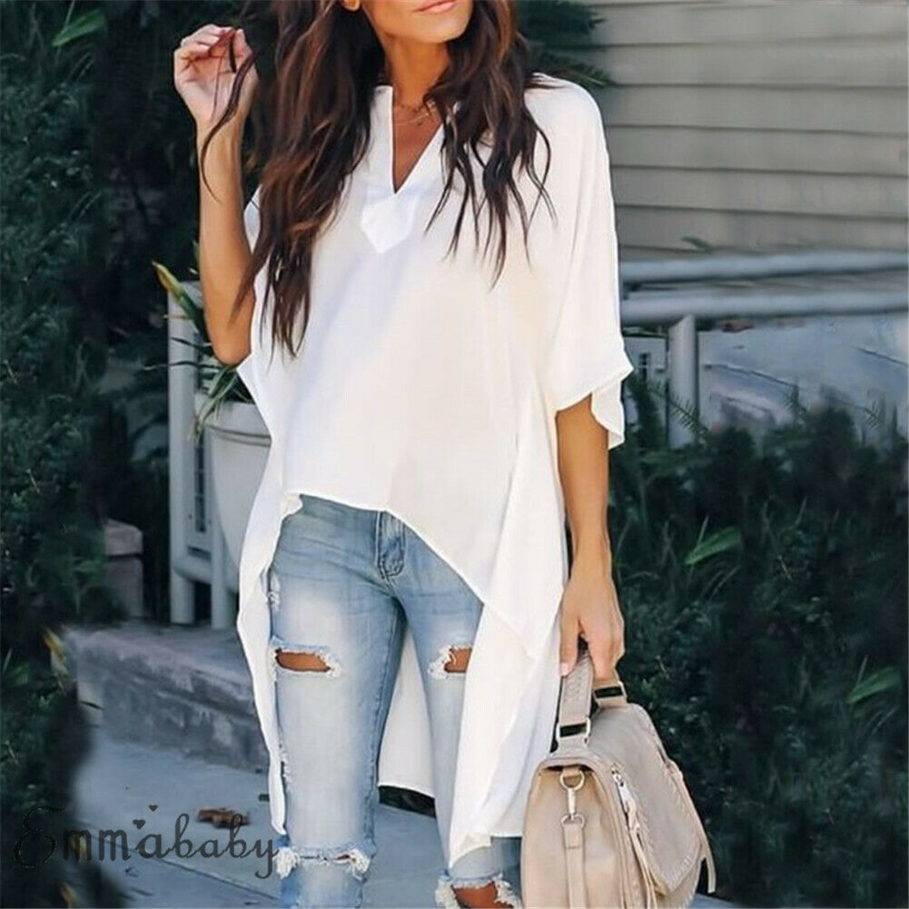 Fashion Women Short Sleeve Irregular Long Blouses Ladies Summer Casual V Neck Loose Tops Solid Blouse