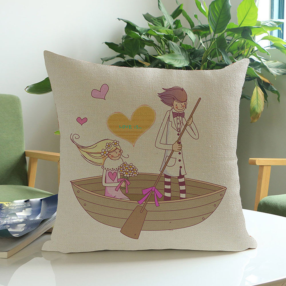 45cm*45cm Square Lovers Painting Linen Cushion Cover Throw Waist Pillow Case Home Decor Throw Pillow case for car, library, sofa