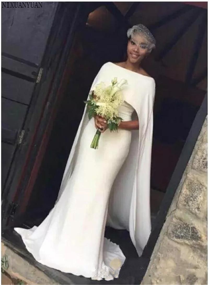 03e419b5d81 Mermaid Arabic Wedding Dresses with Cape Zipper Back Black Girl Bridal  Gowns Wedding Gown 2019 Vestidos
