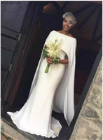 Mermaid Arabic Wedding Dresses with Cape Zipper Back Black Girl Bridal Gowns Wedding Gown 2020 Vestidos De Novia