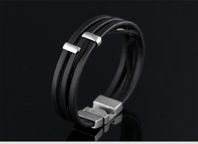 Модный 316l титановый креативный Многослойный кожаный браслет