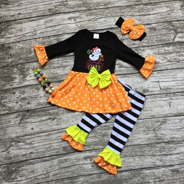 girls pumpkin outfits kids Halloween pant sets stripe ruffle ghost pant outfits girls Halloween party clothing with accessories