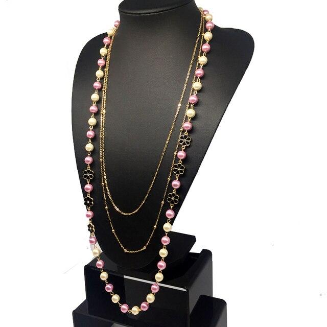 f318c4cb0914 Roze Wit ABS Parel Sieraden Bloemen Gouden Ketting Lange Ketting Trui  Accessoires Collier Perle Bijoux Voor