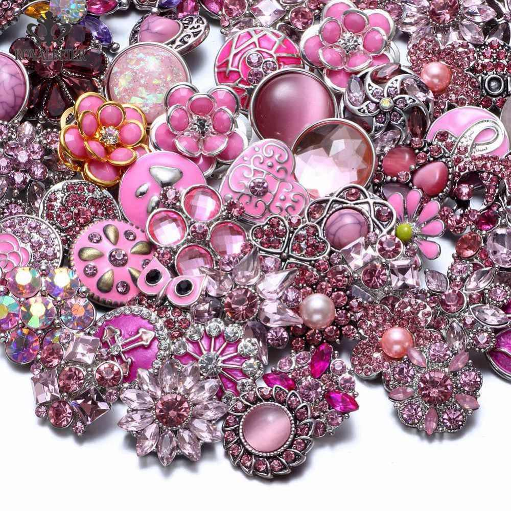 Wholesale 50pcs/lot Mixed Metal and Glass 18mm Snap Button Jewelry DIY Rhinestone button Charms For DIY Snaps Bracelet Jewelry