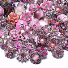 Wholesale 50pcs/lot Mixed Metal and Glass 18mm Snap Button Jewelry DIY Rhinestone button Charms For DIY Snaps Bracelet Jewelry(China)