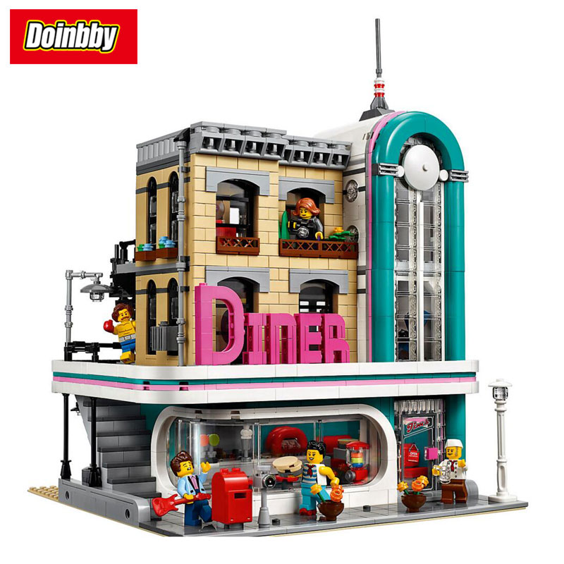 Lepin 15037 City Street MOC Downtown Diner City Series Model Building Block Bricks Toys Children Gifts Compatible 10260 a toy a dream lepin 15008 2462pcs city street creator green grocer model building kits blocks bricks compatible 10185