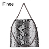 IPinee Brand PU Leather Women Large Shoulder Bag Female Serpentine Pattern Hobos Bag With Chain Women
