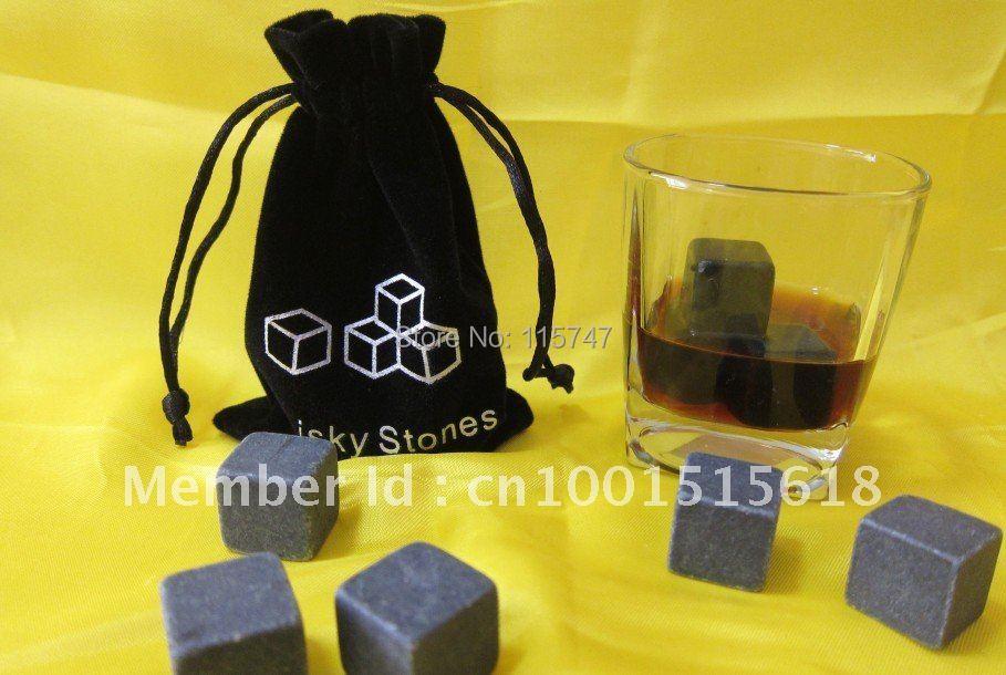 Whisky stones 6pcs/set +velvet bag, 150sets/lot, cooling wine stone, - Kitchen, Dining and Bar - Photo 2