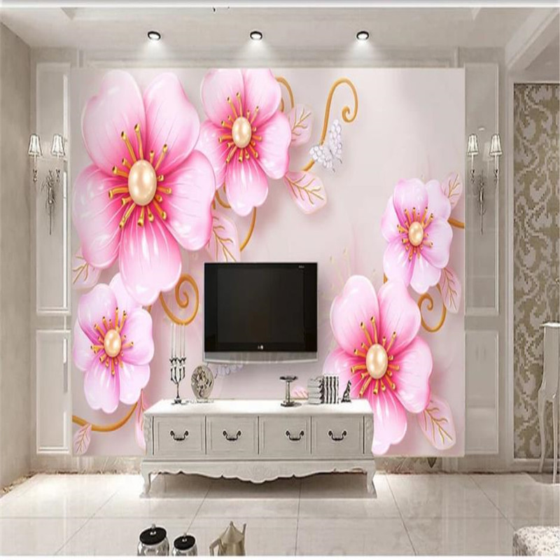 Custom wallpaper 3D three dimensional embossed jewelry flowers simple European TV background wall home decoration art painting in Wallpapers from Home Improvement