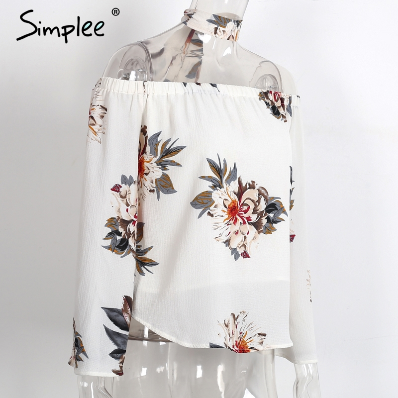 HTB1dmsAPXXXXXa0XpXXq6xXFXXXK - Floral print off shoulder chiffon blouse Women tops halter cool
