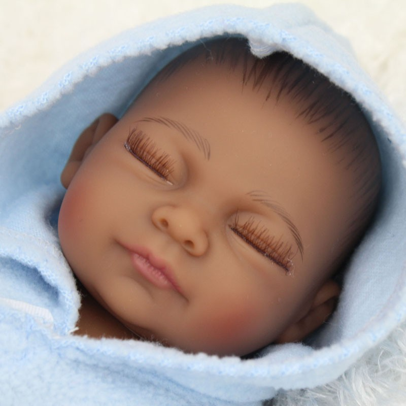 2017 African American Baby Doll Black Boy Realistic Reborn Newborn Babies Closed Eyes In Dolls