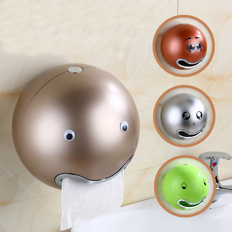 Cartoon Emoji Tissue Box Bathroom Waterproof Ball Shaped Paper Holder Toilet Wall Sticker Paper Boxes Holder