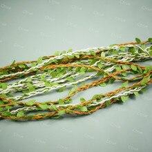 5M Brown Natural Twine String with Leaf DIY Craft Garland accessories Supplies Burlap Wedding Decoration Rustic Wedding Decor